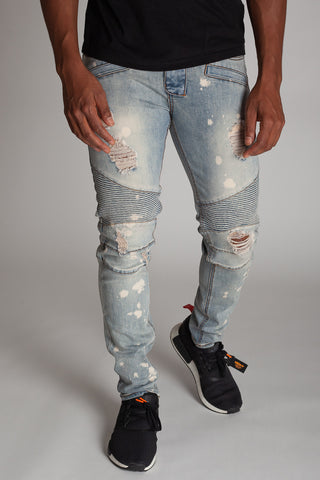 Bleach Spot & Paint Brushed Moto Jeans (Medium Vintage)