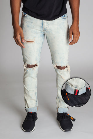 Inner Tape Destroyed Knee Skinny Jeans (Tinted Ice Blue)