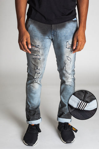 Inner Tape Distressed Slim Jeans (Blue Smoke)