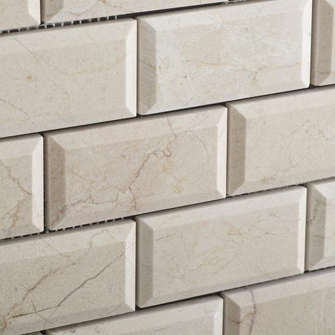 2X4 Crema Marfil Honed or Polished Beveled Brick Mosaic Tile