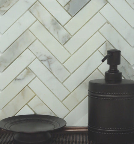 Calacatta Gold Herringbone 1X4 Mosaic Polished/Honed