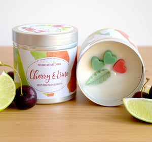 Cherry and Lime Natural Soy Wax Candle - Large Size (12oz)