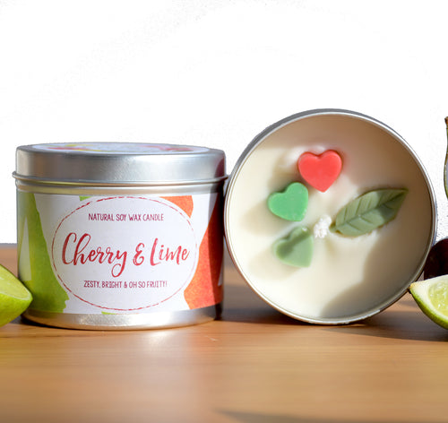Cherry and Lime Natural Soy Wax Candle - Standard Size (8oz)