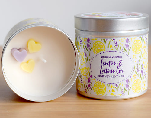 Lemon and Lavender Soy Wax Candle - Large Size (12oz)