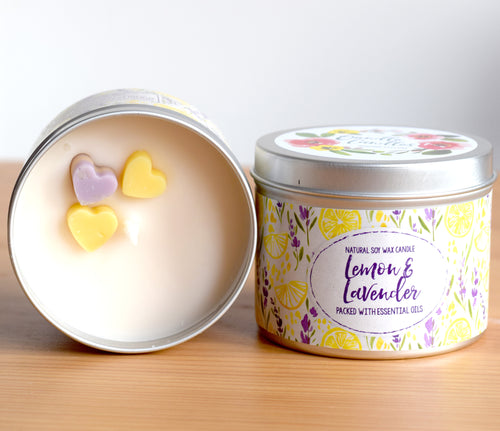 Lemon and Lavender Soy Wax Candle - Standard Size (8oz)