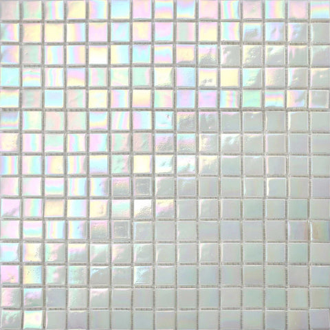 White Iridescent Vitreous Glass Mosaic Tile Sheet (MT0131)