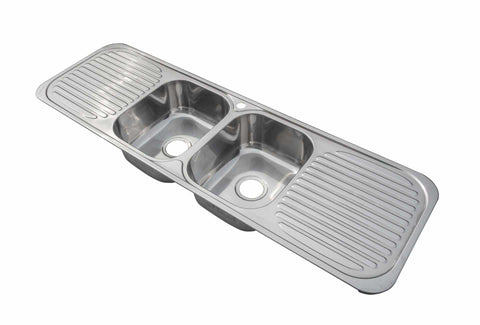 1500 x 480mm Commercial Two Bowl Double Drainer Kitchen Sink | Grand Taps