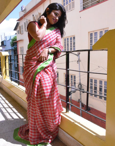 Red Checked Linen Saree