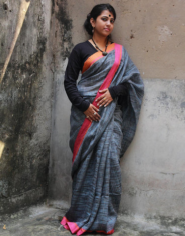 Rust Blue Pure Linen Saree