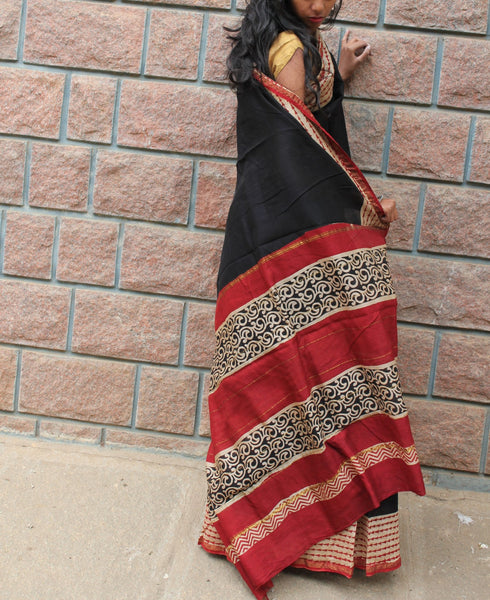 Black Dabu Saree