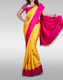Yellow Checked Gadwal Silk Saree