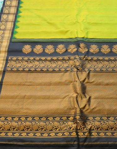 Pista Green Gadwal Silk Saree