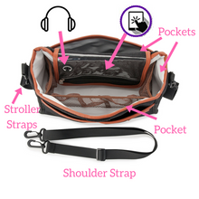 pram organiser storage bottle phone food pockets stroller shoulder straps
