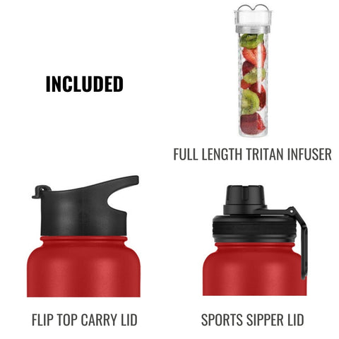 InstaCuppa Thermos Steel Fruit Infuser Water Bottle 1 Litre, Tritan Infusion Unit, Detox Infused Recipe eBook, 2 Lids (Black)