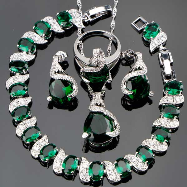 Emerald Silver 925 Jewelry Set best mother's day luxury gift - jpgstorepro.com