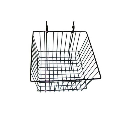 12 x 12 x 8 black grid slatwall basket