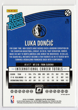 2018-2019 DONRUSS OPTIC LUKA DONCIC RATED ROOKIE BLUE VELOCTIY PARALLEL