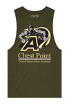 Chest Point College Tank Cut-Offs - Military Green