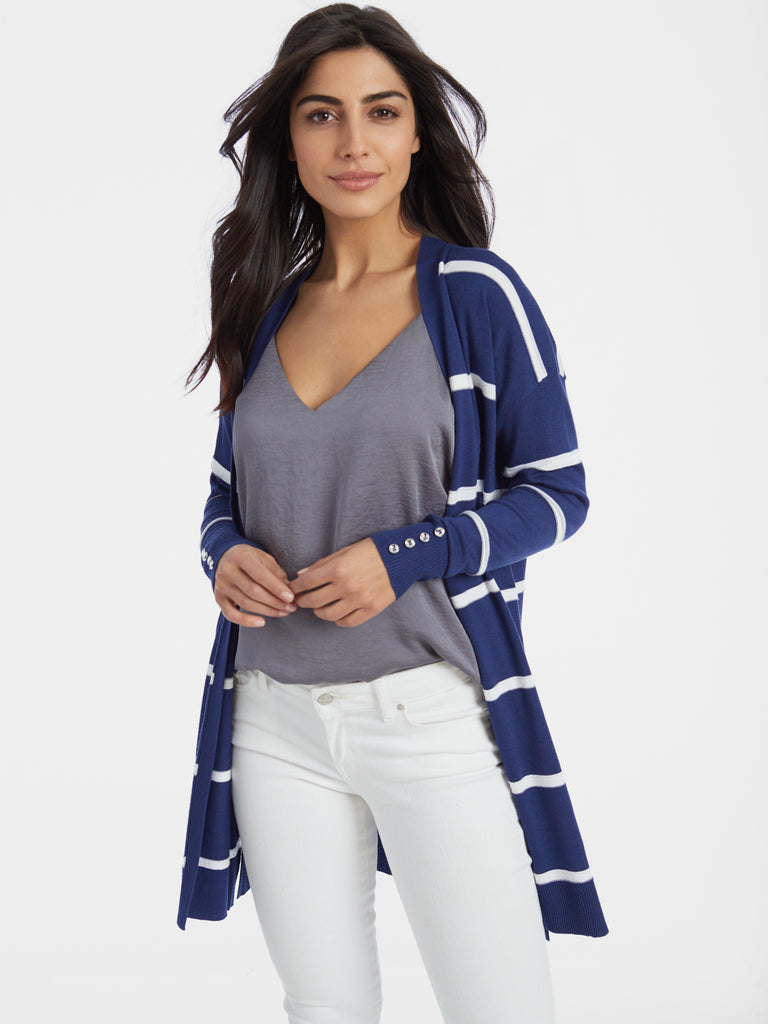 Raised Striped Open Front Duster Cardigan