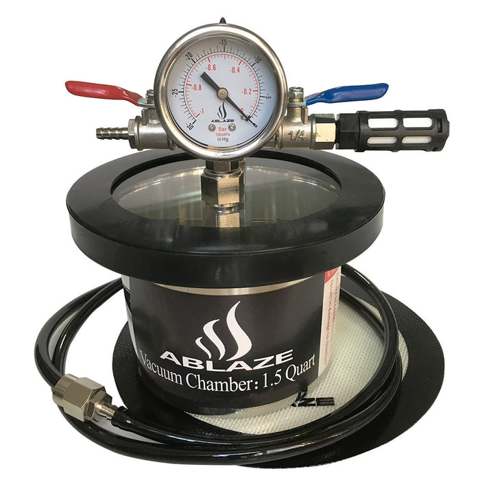 ABLAZE 1.5 Quart Stainless Steel Vacuum Degassing Chamber and 3 CFM Single Stage Pump Kit