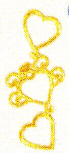 JKM Trio of Gold Hearts Applique (Iron On)