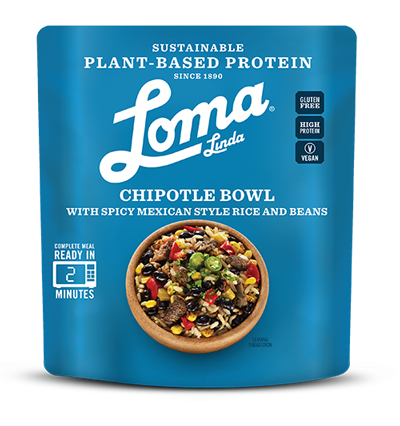 Loma Linda Plant Based Protein Chipotle Bowl Ready Meal