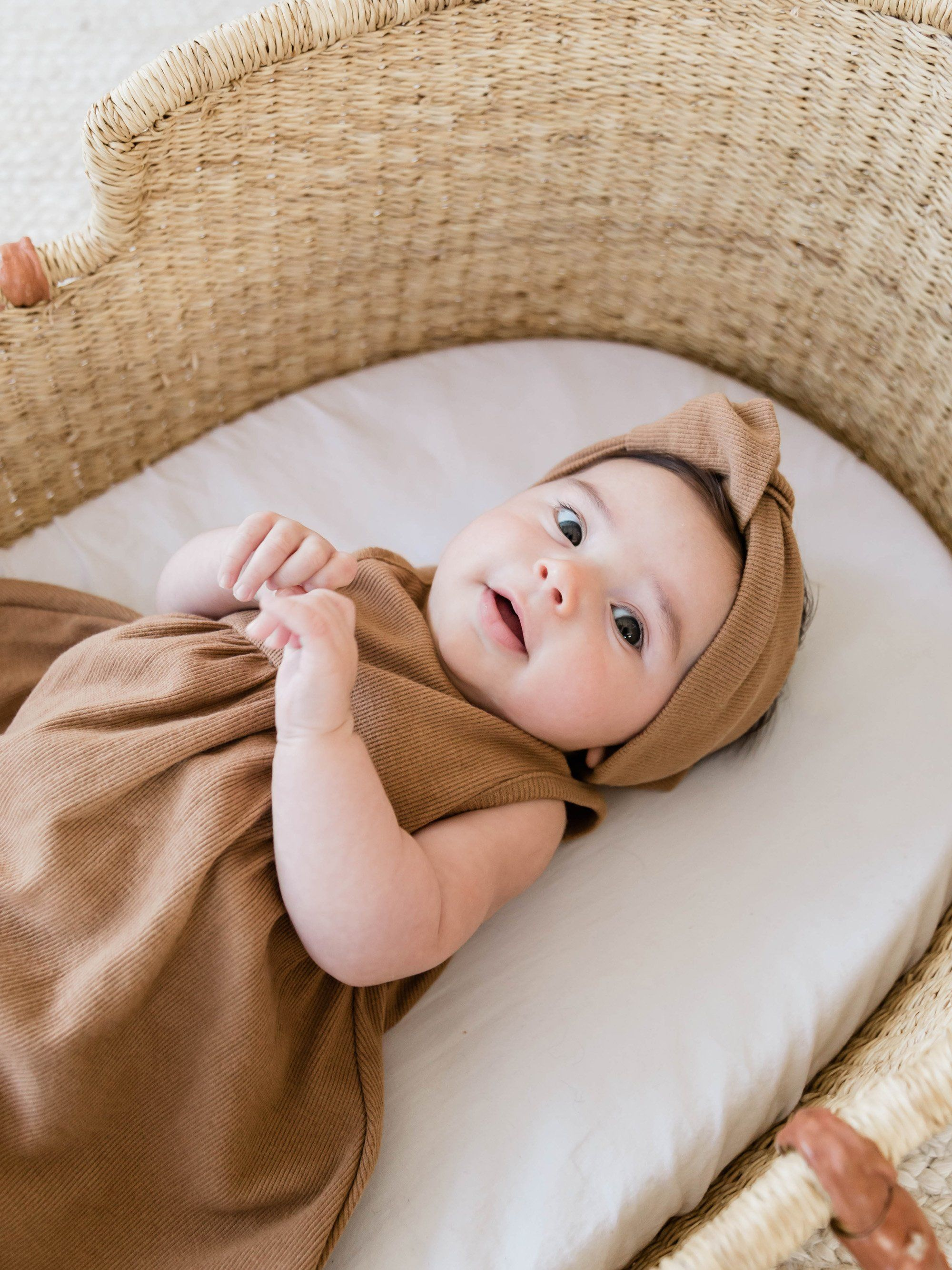 Quincy Mae Organic Ribbed Baby Turban, Copper
