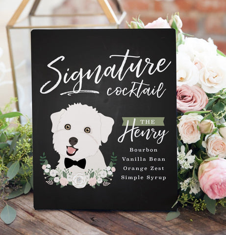 Miss Design Berry Sign Chalkboard Signature Cocktail Sign For Wedding with Pet Portrait