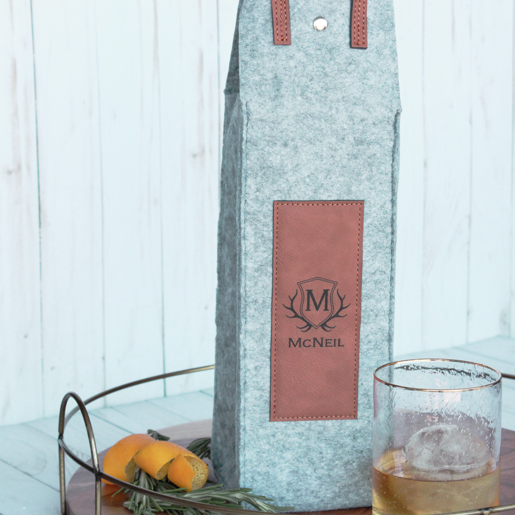 Monogram Flannel Whiskey/Wine Tote