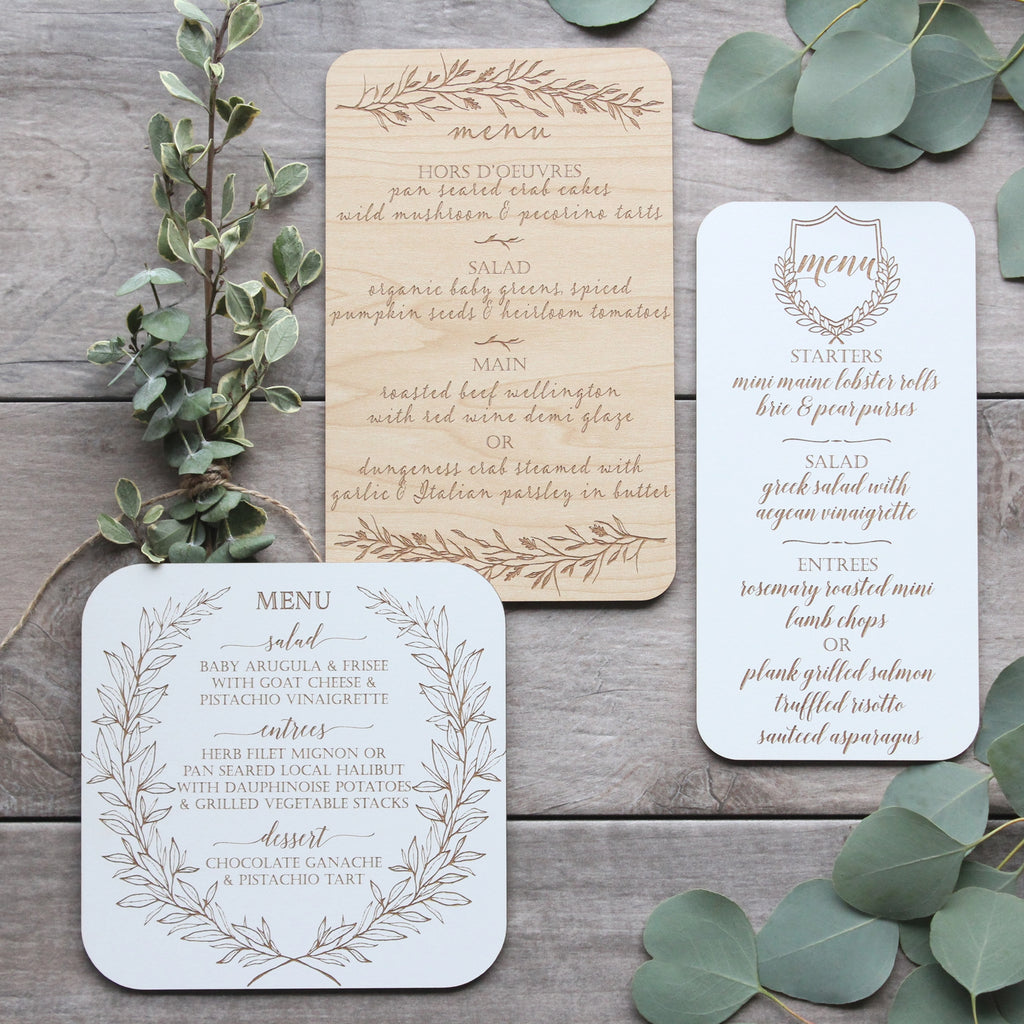 Wood Engraved Table Menus