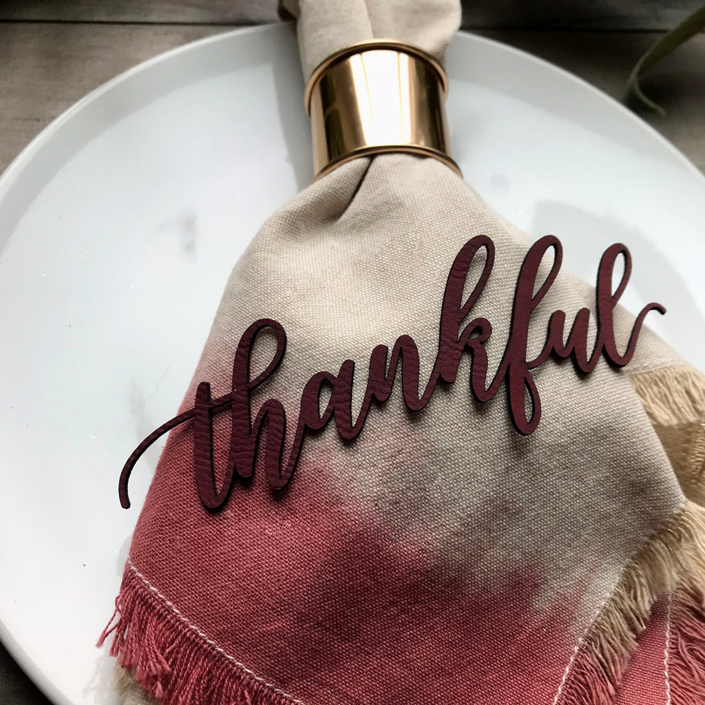 Thanksgiving Napkin Tags - Leatherette