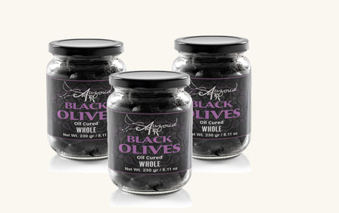 AUZOUD Oil-Cured Black Olives, Whole, Supports North African Women Farmers, 100% Natural, Hand-Picked, 230 g (PACK OF 3)