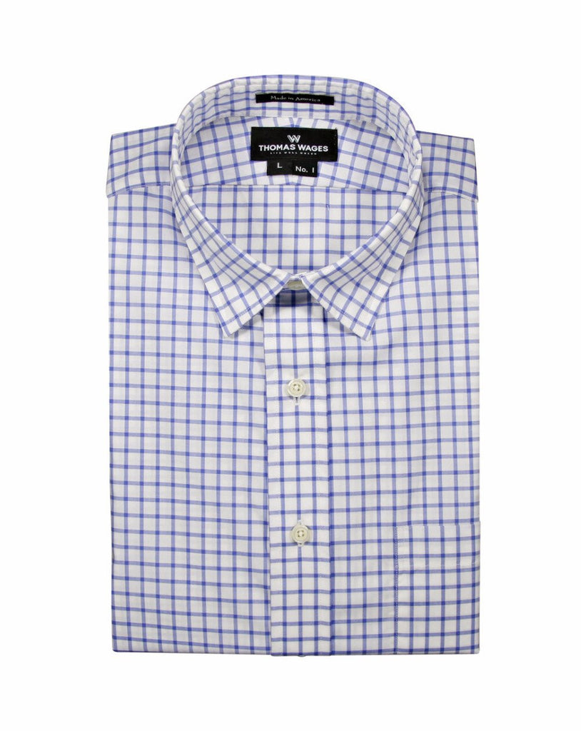 Blue Windowpane Poplin Shirt