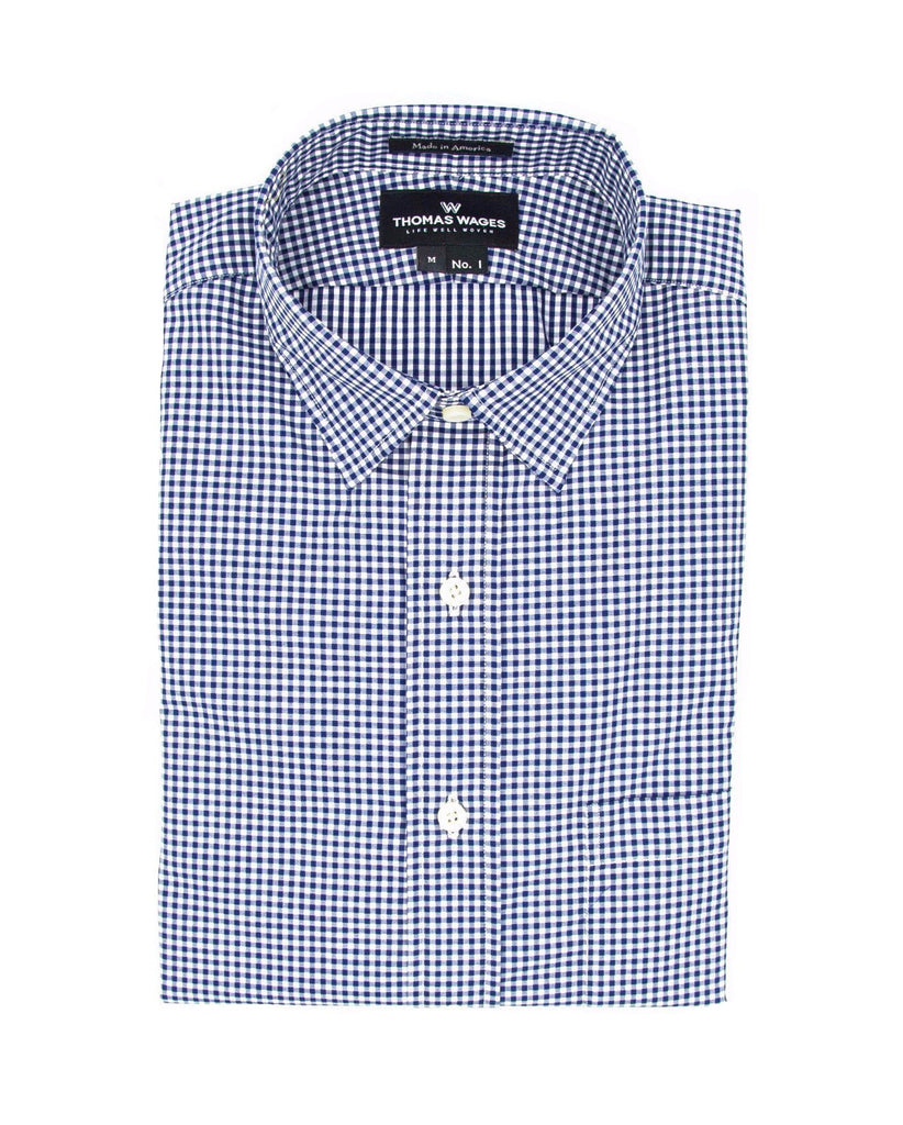 Navy Micro Gingham Shirt