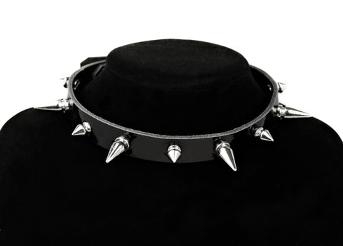 Restless Mind Choker Morticia silver Leather Choker
