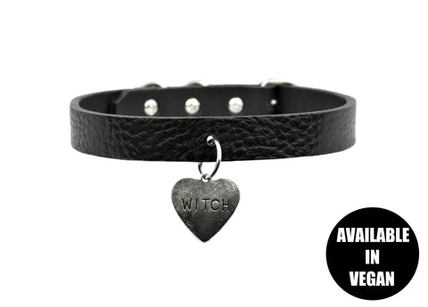 Restless Mind Choker Witch silver Leather Choker