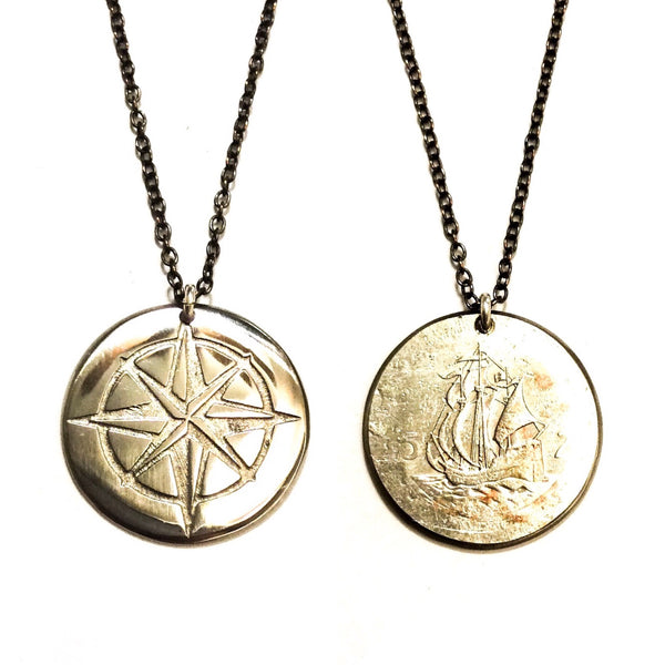 compass necklace, compass charm, compass jewelry, compass gift, compass rose charm, compass rose necklace, compass rose jewelry, compass rose gift, coin jewelry, coin necklace, coin charm, etched coin, manmadedesign, manmade design, shop small, small business, made in america, made in usa, caribbean charm, caribbean  necklace, caribbean  jewelry,caribbean  gift, travel charm, travel jewelry, travel necklace, travel gift