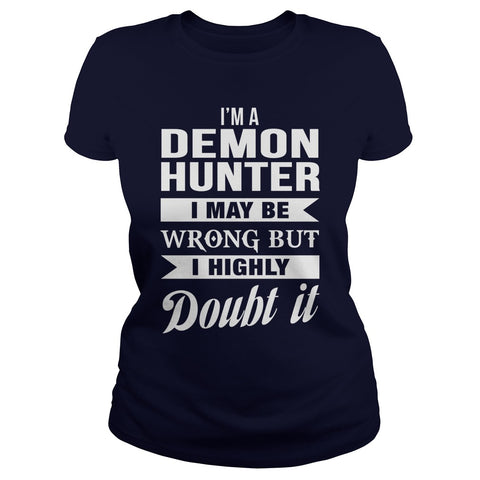 Picture of navy blue Demon Hunter ladies t-shirt.