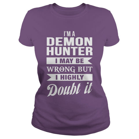 Picture of purple Demon Hunter ladies t-shirt.