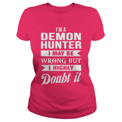 Picture of hot pink Demon Hunter ladies t-shirt.