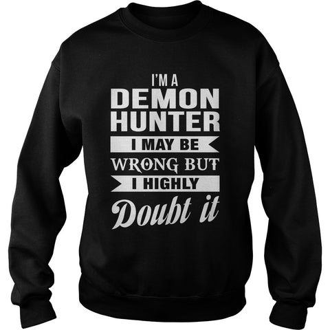 Picture of black demon hunter sweatshirt.