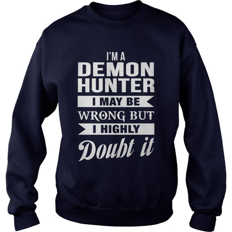 Picture of navy blue demon hunter sweatshirt.