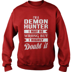 Picture of red demon hunter sweatshirt.