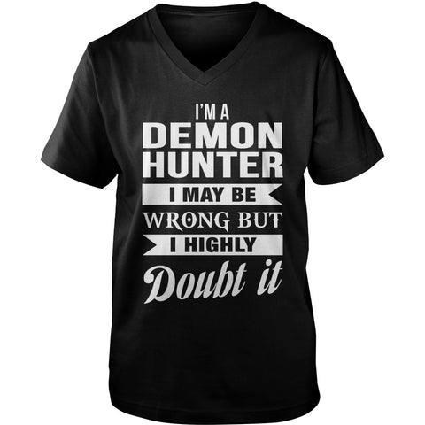 Picture of black Supernatural Demon Hunter V-Neck t-shirt.
