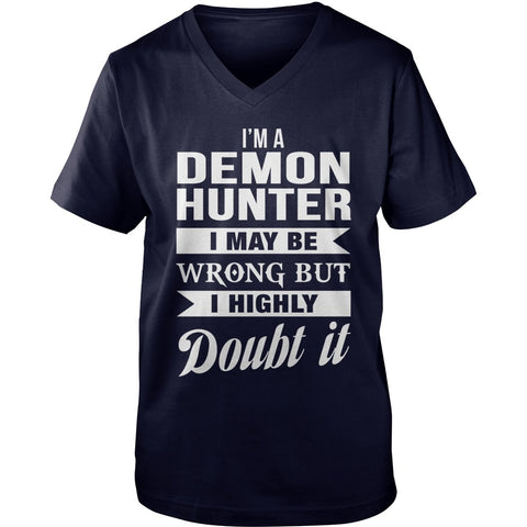 Picture of navy blue Supernatural Demon Hunter V-Neck t-shirt.