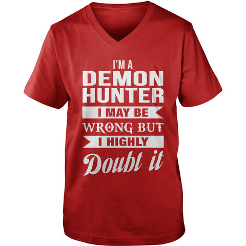 Picture of red Supernatural Demon Hunter V-Neck t-shirt.