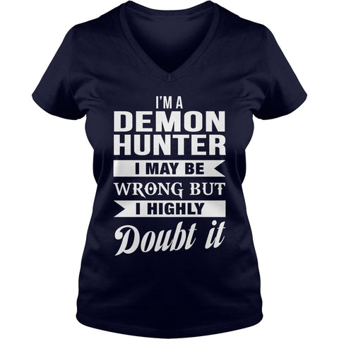 Picture of navy blue Demon Hunter ladies v-neck t-shirt.