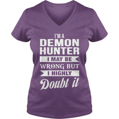 Picture of purple Demon Hunter ladies v-neck t-shirt.