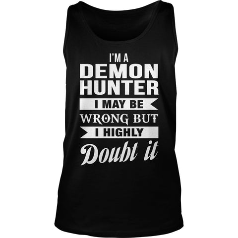 Picture of black Supernatural Demon Hunter unisex tank top.