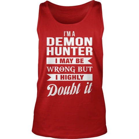 Picture of red Supernatural Demon Hunter unisex tank top.